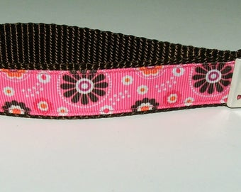 Pink Floral Key Chain - Key Fob - Gift - Wristlet - FREE SHIPPING