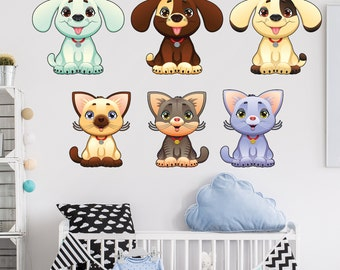 Puppy and Kitty Wall Stickers  / Baby Dogs and Cats Wall Stickers - WDDASA10053
