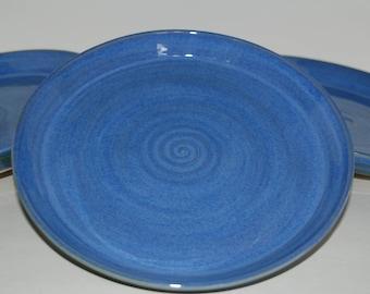 Handmade blue pottery dinner plates. Handmade pottery plate set.