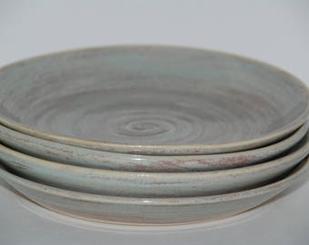 Pottery plate SET. Medium sized handmade plate SET.