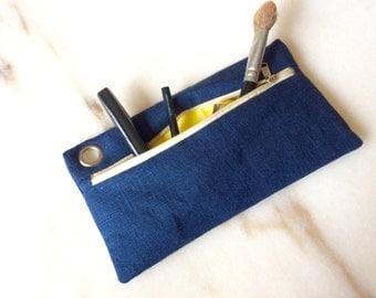 Linen cosmetic pouch, pencil case, Linen Clutch, linen pouch, Natural Linen and Bag for Women, Simple Purse, Handbag, Summer Clutch, cosmeti