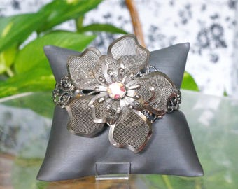 Free Shipping! Vintage Repurposed Brooch on Antiqued Silver Filigree Adjustable Cuff Bracelet