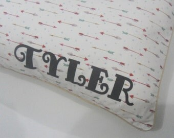 Personalized and Reversible Cotton Dog Bed Cover with Piping (10oz Cotton Canvas) -  Name Plate Imprint