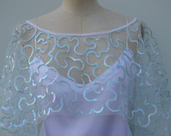 Glitter clearance 30% tulle Cape, shoulder cover embroidered, sequined poncho