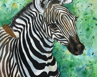 Zebra Painting, Zebra Art, Black and White Zebra Original Watercolor Painting, Animal Painting. Wildlife, Nursery Art, Animal Art,