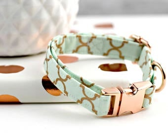 Dog Collar - Mint Green/Rose Gold Trellis Pattern - Rose Gold Hardware