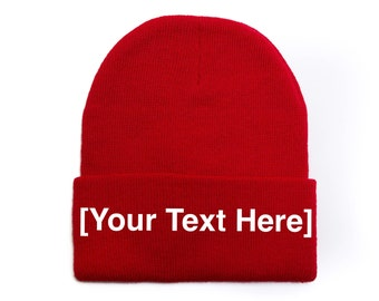 Custom Beanie, Custom Beanies, Custom Embroidered Beanie, Custom Beanie Hat, Red
