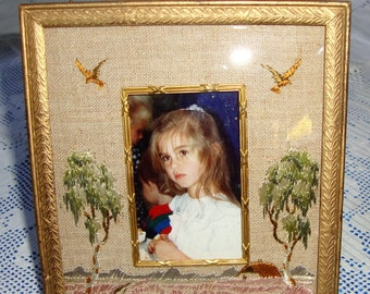 Very Rare Antique VICTORIAN GILDED And Hand Embroidered Picture Frame CONVEX Glass A True Treasure A Perfect Gift
