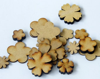Assorted MDF flower shapes - Lot of 50