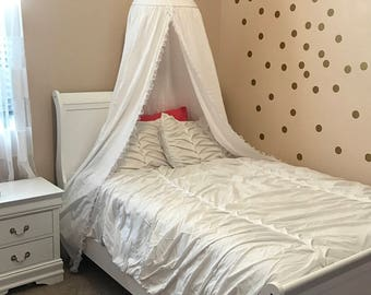 Bed Canopy, Play tent, princess tent, tent, fort, white lace tent, hanging tent, hanging play tent, reading tent