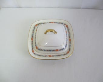 Mid Century 3 Piece Covered China Butter Dish Carrollton China Orange Lavender Blue Trim with Crazing See Details