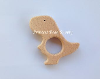 Dinosaur Natural Wood Teether, Natural Wooden Dino Teether,  Natural Unfinished Wood Teether, Natural Wooden Teether
