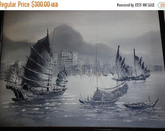 Asian China Junk ---337. Gray cloudy China Junk seaport w. sailing oil painting on canvas w. frame