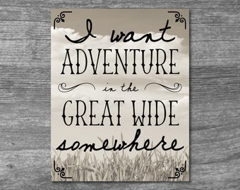 I Want Adventure In The Great Wide Somewhere Digital Download, Adventure Print, Disney Print, Beauty and The Beast Artwork, Rustic 8x10