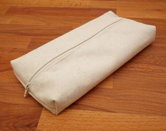 Large Capacity Undyed Canvas Pencil Case Pouch