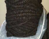 Black Alpaca Rug Yarn - 100% Virginia alpaca fiber - Corespun Alpaca Yarn - undyed seconds (neck fiber) - Clearance Sale