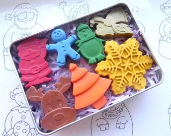 Christmas Crayons | Stocking filler | Kids gift | Santa | Penguin | Christmas Tree | Gingerbread Man | Angel | Snowflake | Santa | Rudolf
