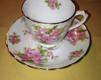 New Chelsea Staffs pink espresso demitasse cup saucer set gold rims flowers