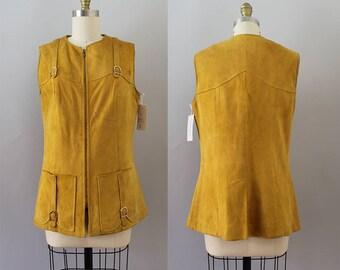 1970s Suede Vest / Vintage 70s Leather Top