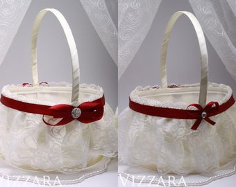 Ring Bearer Girl Baskets Flower Girl Basket Vintage Wedding Vinous red Wedding flower girl Flower Girl Baskets  Burlap Baskets Wedding Decor