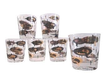 Midcentury Black & Gold Atomic Lowball Glasses, S/6
