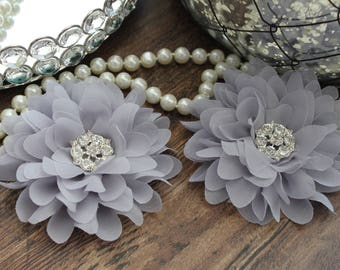 "SET OF TWO - 4"" Gray Large Fluffy Chiffon Flowers - Elegant - Beautiful - Hair Accessories - Wedding - TheFabFind"