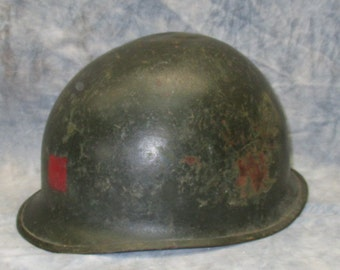 US Army Military Metal Helmet WWI WWII Red Square Uniform Vintage Costume