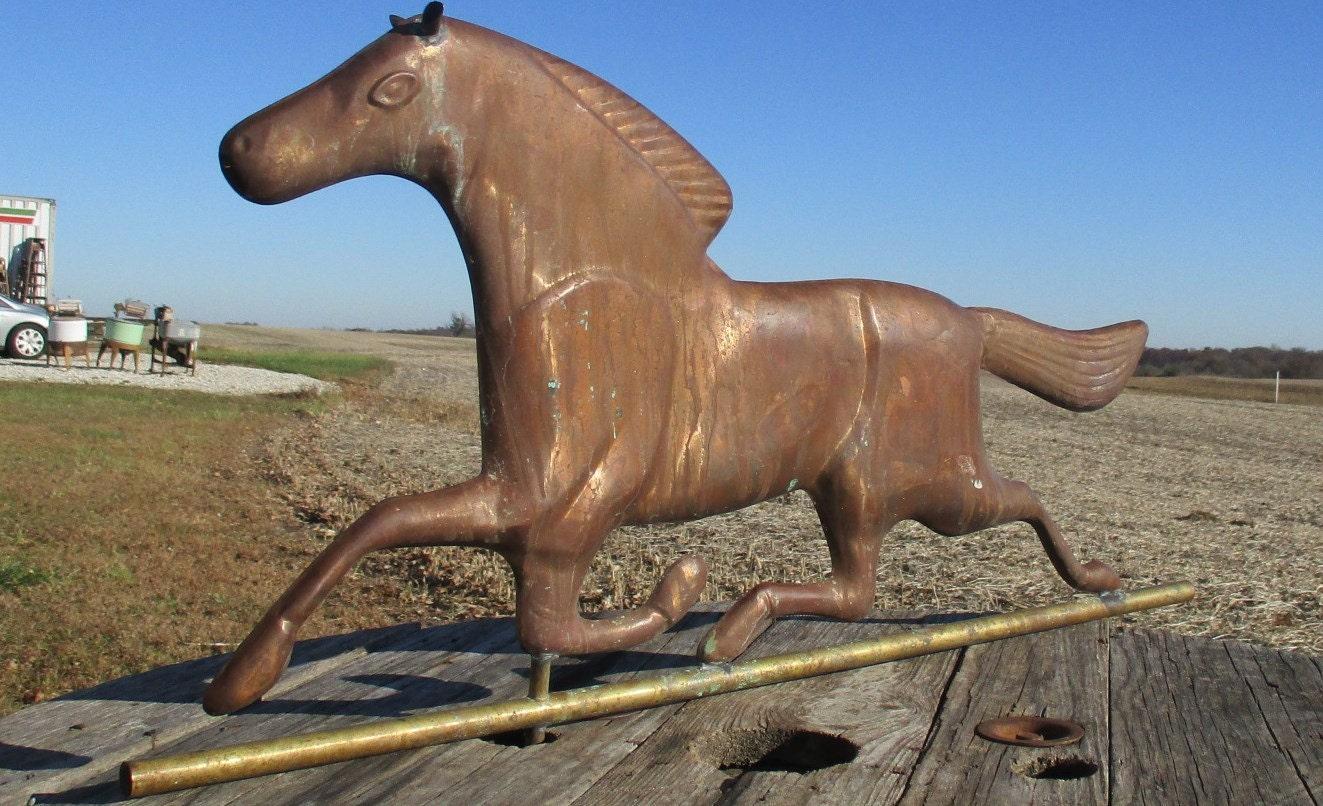Vintage Weather Vane: Horse Weathervane Lightning Rod Antique Hollow Body Barn