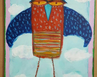 "Original Outsider Art Folk Art Painting on Board BIRD 9"" x 12"""