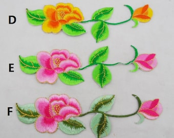 2 pieces Embroidered Appliques,Adhesive Embroidered Flowers,Iron-on Patches For Dress Supplies,For Hair Flower(44-60)