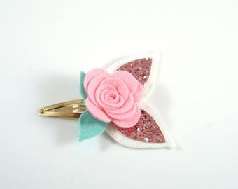 Pink Rose Clip. Sparkle Flower Clip. Flower Hair Clip. Easter Bow. Toddler Barrette. Baby Barrette. Flower Barrette. Rose Hair Clip.