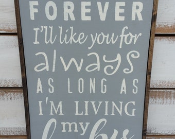 I'll Love You Forever Sign, As Long As I'm Living My Baby You'll Be,  Love You Forever, Nursery Decor,  Robert Munsch, Neutral Baby Sign
