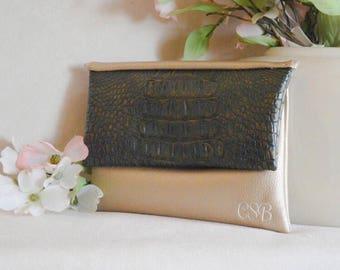 Bridesmaid monogram clutch - alligator purse - personalized leather clutch - gold wedding clutch - color block clutch - bridal clutch - bags
