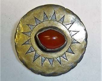 Turkmen Goldwashed Silver Button, 1 Piece of Vintage Turkmen Button with Carnelian, Turkmen Jewelry, Antique Tribal Button