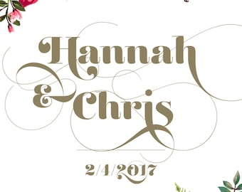 Personalized Couple Print — Wedding Anniversary Shower Gift First Names Customized Print
