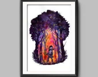 Studio Ghibli Grave of the Fireflies traditional watercolor painting art print