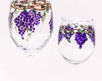 Hand Painted Wine Gasses or Goblets Grapes /pair