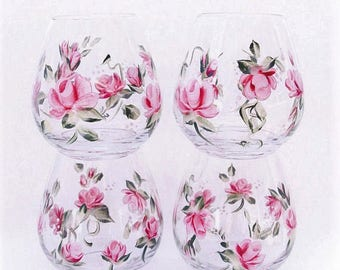 Hand Painted Stemless Wine Glasses Pink Roses Set of four