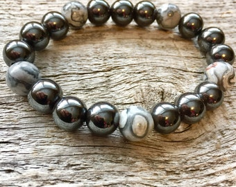Magnetic Hematite and Scenery Jasper Pain Relief Bracelet