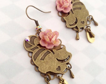 Earrings cheshire cat alice in the Wonderland