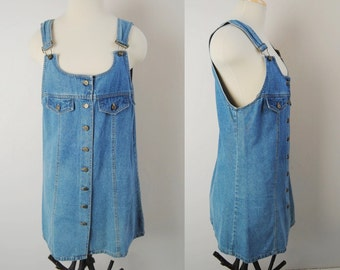 Vintage 90s Overalls Dress, Button Front Denim Dress, Fitted 90s Mini Dress, Stonewashed Denim, Overalls Jumper