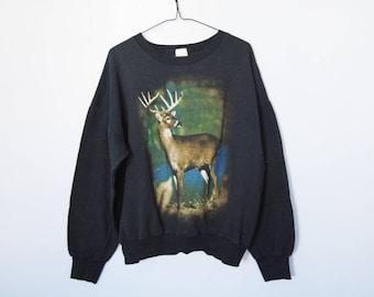 Vintage Deer Oversized Sweatshirt -- crew neck, faded black, wildlife, animal, deer graphic, outdoor, hunting, unisex