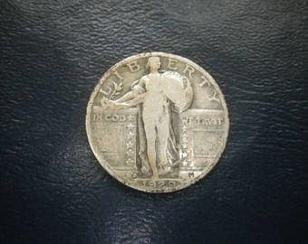 1929 D US Standing Liberty Quarter Denver minted 90% silver coin