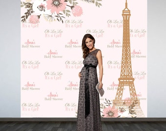 Paris Baby Shower Photo Backdrop, Spring Time In Paris Photo Booth Backdrop, Eiffel Tower Party Backdrop, Custom Backdrop, First Birthday