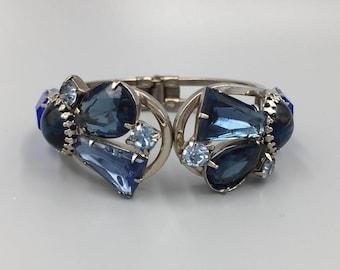 Sapphire Blue Glass Stone Juliana Style Clamper Bangle Bracelet - Vintage 1960s Silver Tone, Open Backed, Large Stones