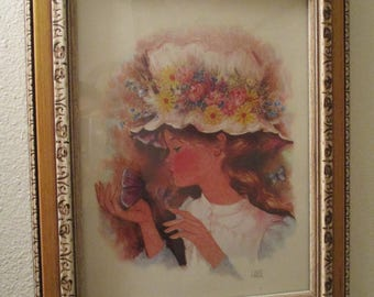 Framed A. Gruerio Print Girl in flowered hat with butterfly