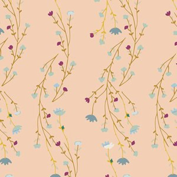 Changing Pad Cover >> Garden Dreamer Climbing Posies in Blush >> Made-to-Order >> blush floral changing pad, vine changing pad, garden baby