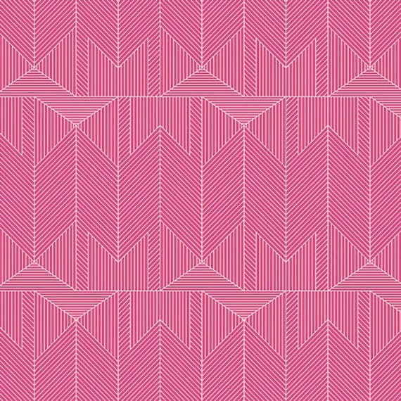 Changing Pad Cover >> Wonderful Things Journey in Pink >> Made-to-Order pink changing pad, arrow changing pad, magenta triangle changing pad