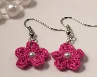 Dangle Earrings Floral  Crochet