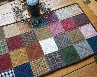 Quilted Table Topper / Quilted Table Runner / Quilted Country Table Runner / Primitive Table Runner/ Handmade